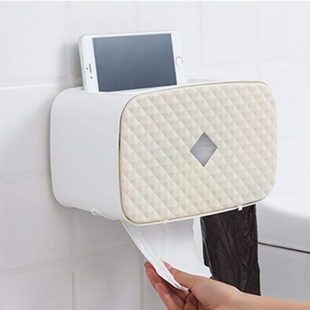 Porte-Papier Toilette Mural Distributeur de Papier WC Hygi/énique Mural Distributeurs de Mouchoir en Papier /Étanche pour Salle de Bain Toilette Abricot