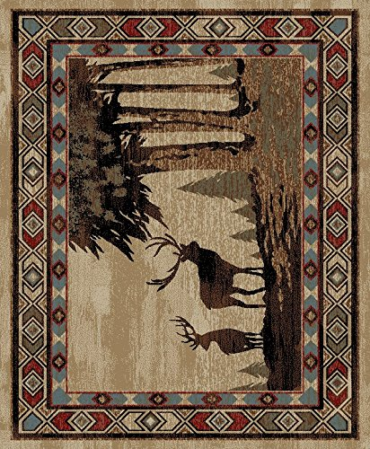 Cheap Mayberry Rugs AD8001 Rustic Lodge Deer – 5'3″x7'3″