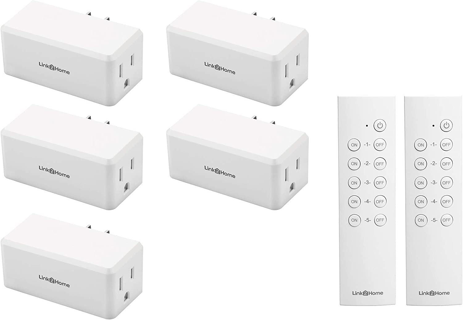 Link2Home Wireless Remote Control Electrical Outlet Switch for Household Appliances & Electronics; 5 Outlets, 2 Remotes