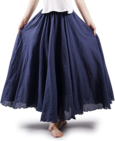 Aeslech - Falda larga para mujer, estilo bohemio, cintura elástica, algodón, lino, algodón: Amazon.es: Ropa y accesorios