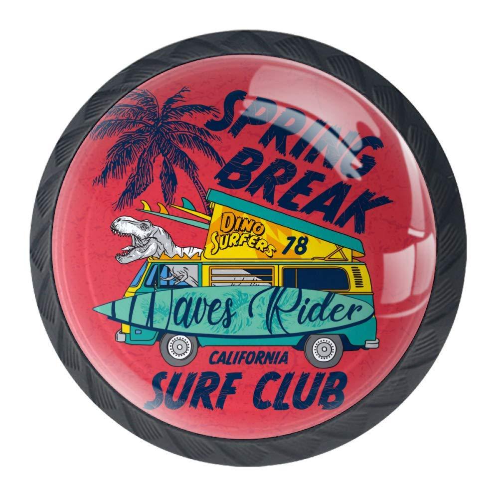 Griff Kristallglas K/üche B/üro f/ür Zuhause Surf Club Kreisform Feder mit Schrauben 4 St/ück FCZ Schubladenkn/öpfe Dinosaurier