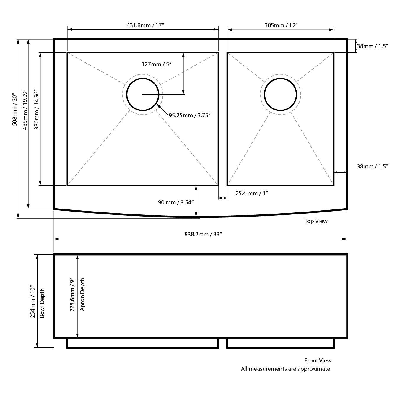 Decor Star F-002-Z 33 Inch x 20 Inch Farmhouse Apron 60/40 Offset Double Bowl 16 Gauge Stainless Steel Luxury Handmade Kitchen Sink cUPC Zero Radius by Décor Star (Image #8)