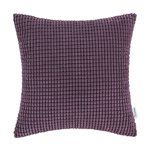 CaliTime Cozy Throw Pillow Cover Case for Couch Sofa Bed Comfortable Supersoft Corduroy Corn Striped Both Sides 20 X 20 Inches Deep Purple