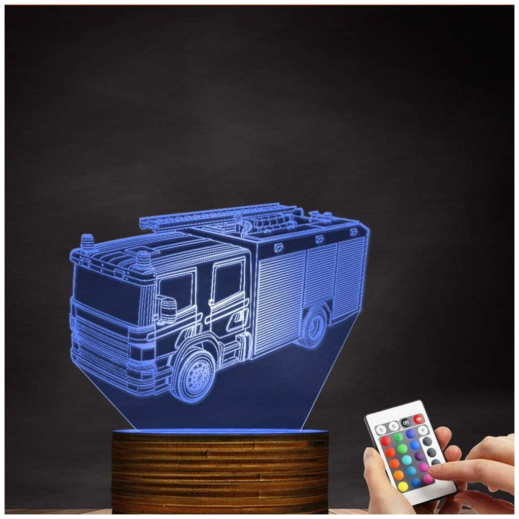 Novelty Lamp, 3D Led Lamp Optical Illusion Fire Truck Night Light 16 Colors with Remote Control Room Decor Switch Remote - Gift for Birthday Christmas Child Adult,Ambient Light by LIX-XYD (Image #1)