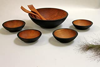product image for Solid Cherry Wood Salad Bowl Set - 5 Bowls, Ebonized - Holland Bowl Mill