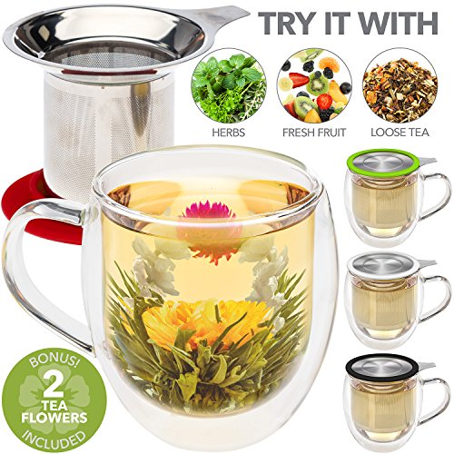 No Hole Glass Ball - Teabloom Double Wall Glass Mug with Infuser & Lid +2 Gourmet Tea Flowers - 15 oz Tea Mug - Lid Doubles as Coaster – Adorable Gift Set for Tea Lovers - Available in 4 Colors