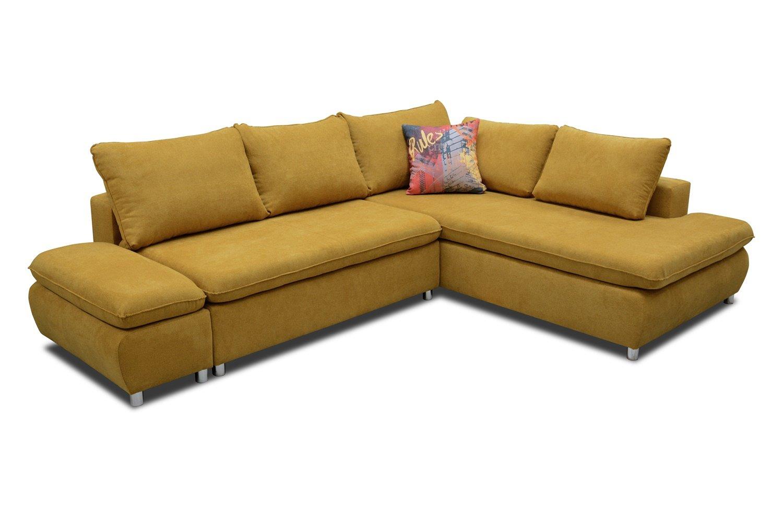 Sofa Amato mit Ottomane links in gelb mit Bettfunktion und Staukasten – Abmessungen: 280 x 222 cm (L x B)