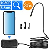 5.5mm Wireless Endoscope, TODSKOP WiFi Borescope 1080P Semi-Rigid IP67 Waterproof Inspection Camera, 2.0MP HD Snake Pipe Camera 1800mAh Battery for Android & iOS iPhone Smartphone, Tablet(11.5FT)