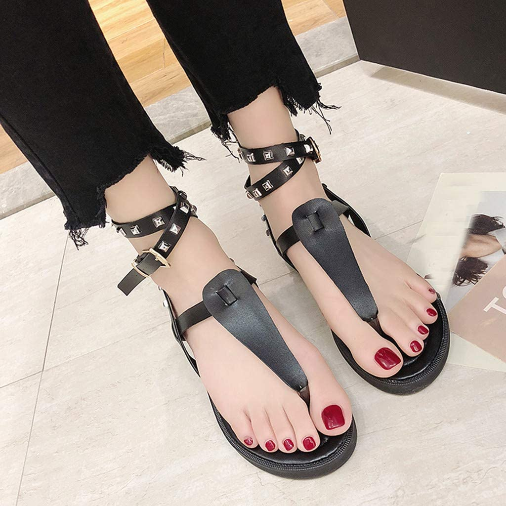 XLnuln Women Comfort Sandals with Arch Support Ladies Fashion Buckle Causal Rivet Beach Shoes Sandals