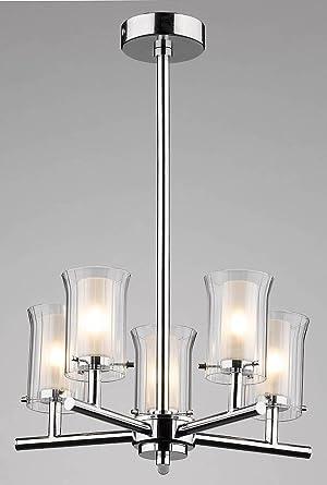 Dar - Lámpara de techo (5 brazos, 5 luces, 25 W, G9, cromo ...