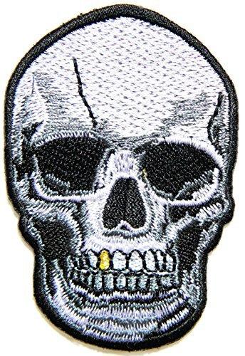 b74f714cedb Amazon.com  Gold Teeth Skull Ghost Logo biker Hog Outlaw motorcycle ...