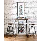 Amazon Com 3 Piece Bar Table Set With Wine Rack Base