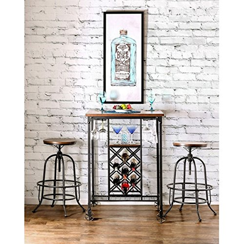 Furniture of America Daimon Industrial Bar Table with Wine (Metal Oak Pub Table)