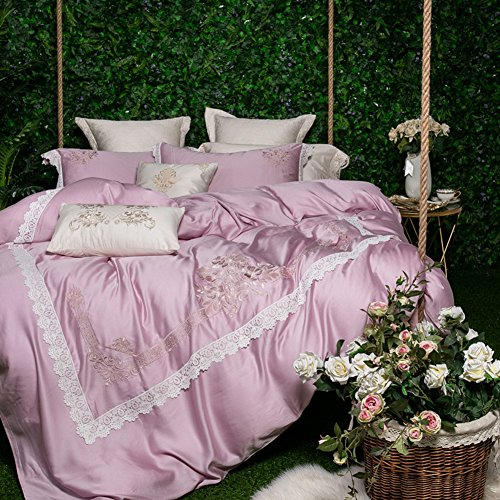 (Four Pieces Set 60 Double-sided Silk Embroidery Bedding Spring And Summer Simple Satin 1.8m2.0 Rice Bed Quilt Cover-E 220x240cm(87x94inch))
