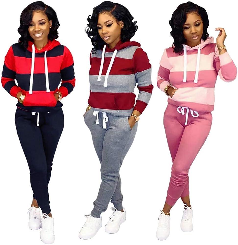 CAQQ Frauen Hoodie Sweatshirt Freizeit Sport Anzug Sportswear Tops und Hosen Farbnähte 3
