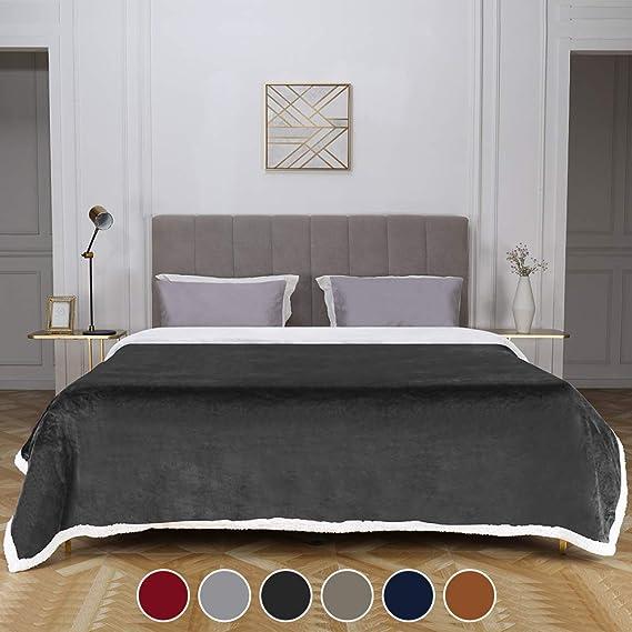 "Bonzy Home Sherpa Twin Blanket, Flannel Twin Blanket Cozy Warm Sherpa Super Soft Fuzzy Fleece Blankets Lightweight and Washable 60""x 80""Twin Size(Dark Gray)"