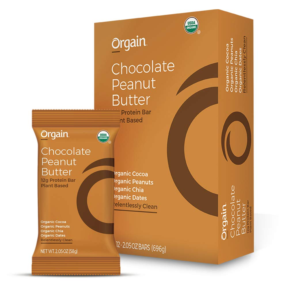 Orgain Organic Simple Protein Bars, Chocolate Peanut Butter - Vegan, Plant Based, 6g Dietary Fiber, Dairy Free, Gluten Free, Soy Free, Lactose Free, Kosher, Non-GMO, 2.05 Ounce, 12 Count by Orgain