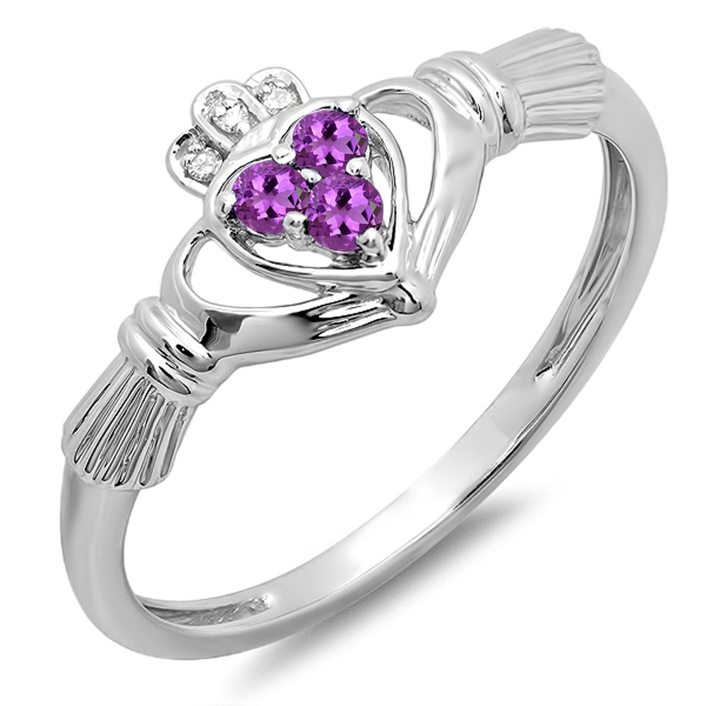 10k White Gold Round Amethyst & White Diamond Bridal Love And Friendship Promise Ring (Size 7)