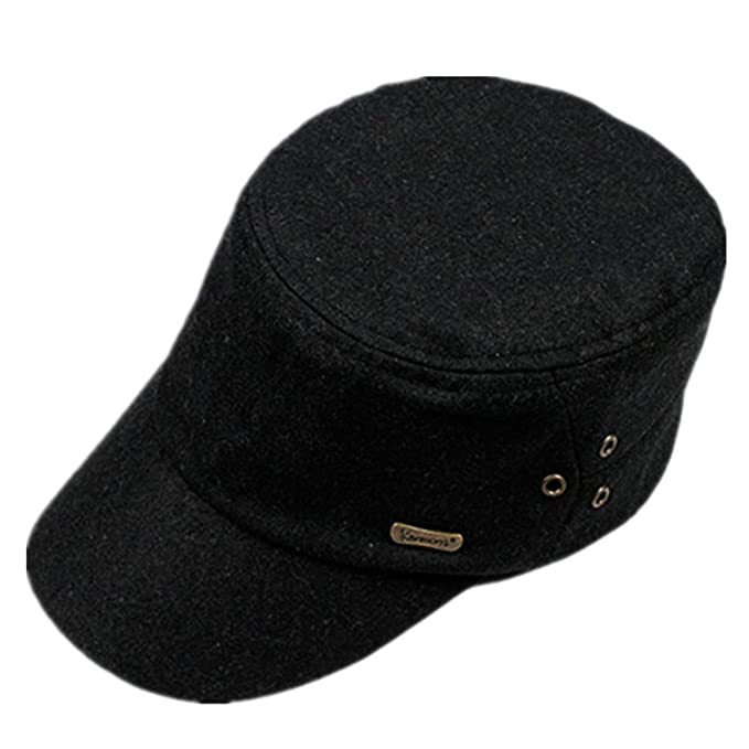 Kenmont Summer Spring Men Wool Solid Color Golf Visor Cadet Military Hat Cap  (Black) 1cd7d21def15