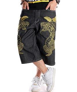 Vska Womens Solid Color Broken Hole Casual Loose Denim Shorts