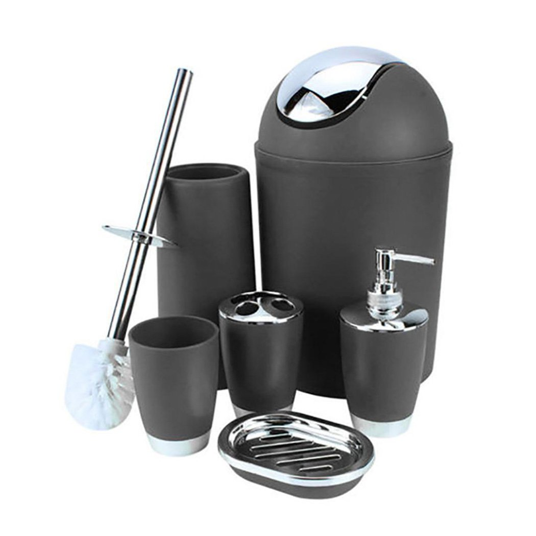 Black Inkach 6 Piece Bathroom set with Soap Dispenser//Soap Bar Holder//Toilet Cleaning Brush Brooms//Rinse cup//Tooth Brush Holder//Waste Bin Casse