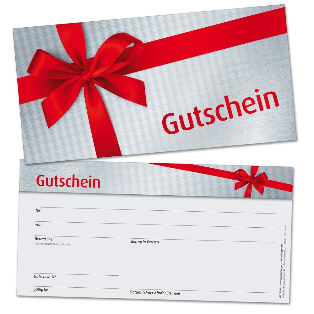 50 regalo cupones DIN Largo, lazo rojo - universal para muchos Sectores, en formato 21 x 10,5 cm de cartón estable de alta calidad: Amazon.es: Oficina y ...