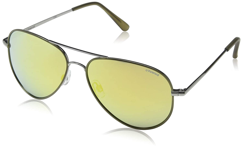 001db0e73c3 Amazon.com  Polaroid Sunglasses P4139s Aviator Sunglasses Ruthenium  Lime Gray Gold Mirror 58 mm  Clothing