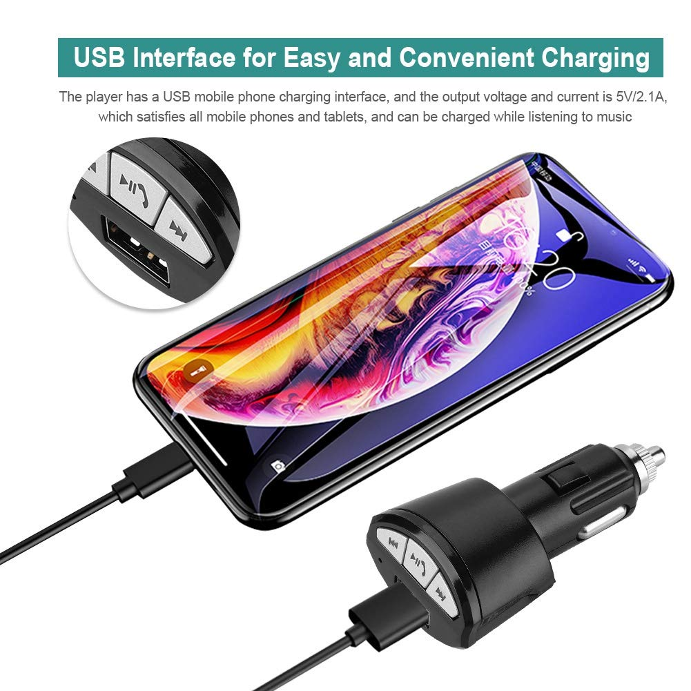 Eboxer Bluetooth Car Audio Receiver Car Kit 3.5mm AUX Stereo Bluetooth Receiver Adapter Hand Free Calling per Car Audio