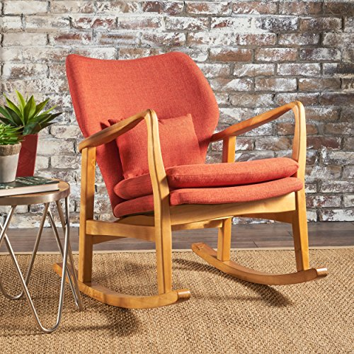 Cheap Balen Mid Century Modern Fabric Rocking Chair (Muted Orange)