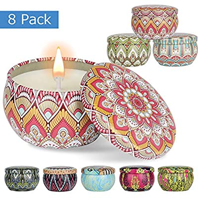Domumdo Scented Candles Set (Lemon, Fig, Lavender, Spring Fresh, Rose, Jasmine, Vanilla, Bergamot) Soy Candles Scented and Organic Candles, Massage Relaxing Travel Tin Aromatherapy Candles 8 Pack