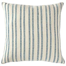 "Stone & Beam French Laundry Stripe Pillow, 17"" x 17"", Ivory, Turquoise"