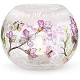 Mark My Words 5-Inch Round Hurricane Crackled Glass Candle Holder, Daughter Sentiment