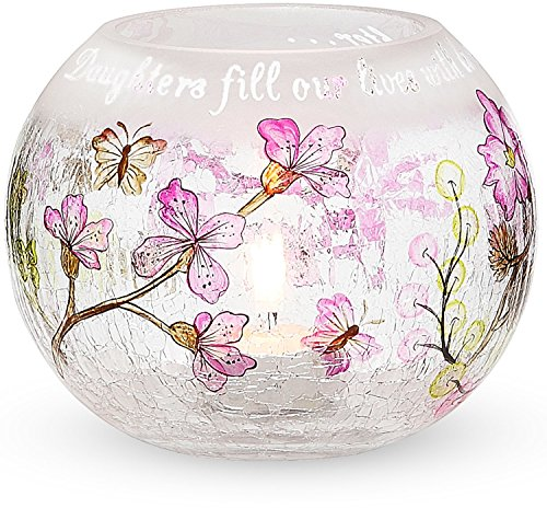 Mark My Words 5-Inch Round Hurricane Crackled Glass Candle Holder, Daughter Sentiment by Mark My Words