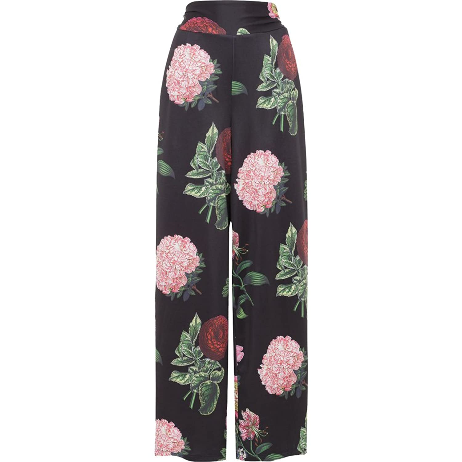 1920s Style Women's Pants, Trousers, Knickers, Tuxedo  NATALIA Large Vintage Floral Print Pants Black $57.99 AT vintagedancer.com