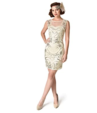 Unique Vintage 1920s Style Cream & Gold Beaded Deco Illusion Short Flapper Dress,Nude,