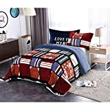 Golden Linens Twin Size 2 pieces Teens / Boys Girls Printed Faux Fur Sherpa Warm Blanket with pillow case All Star Basketball #203