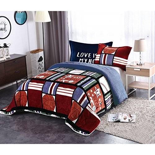 Golden Linens Twin Size 2 pieces Teens / Boys Girls Printed Faux Fur Sherpa Warm Blanket with pillow case All Star Basketball (Basketball Blanket)