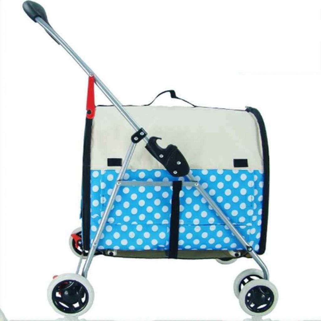 bluee Pet Stroller Folding Cart Light Small Car Cat Stroller Dog Stroller Pet Washable Cat Stroller Outdoor Separation (color   bluee)