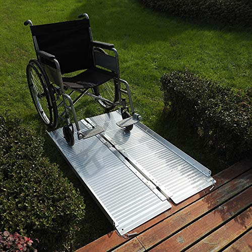 Mefeir 4FT ez Access Wheelchair Ramp for Stair, 600lbs Loading Capacity Singlefolding Scooter Ramp, Lightweight Portable Aluminum, Non-Skid Traction Threshold Ramp, Disabled, Handicap, Home, Temporary