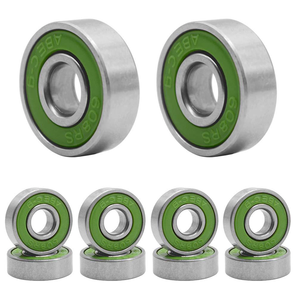 HOSTK Qpower 100 Pcs Skateboard Bearing, 608 ABEC-9 High Speed Wearproof Skating Steel Wheel Roller, Precision Inline Skate Bearings for Longboard, Kick Scooter, Roller Skates (Green)