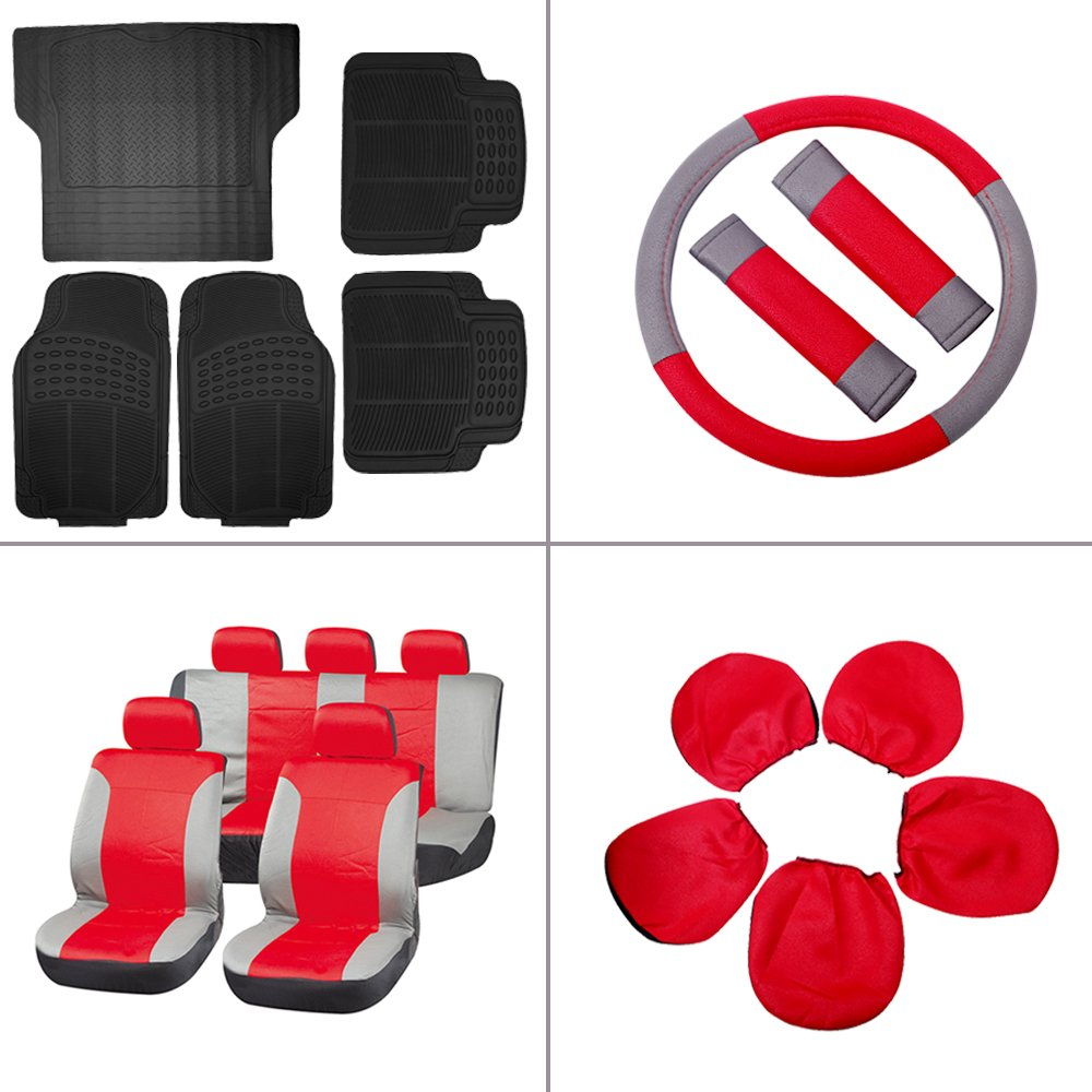 Scitoo 17-PCS Car Floor Mats W/Trunk Liner Gray/Red Car Seat Covers W/Steering Wheel Cover for Heavy Duty Vans Trucks by Scitoo (Image #1)