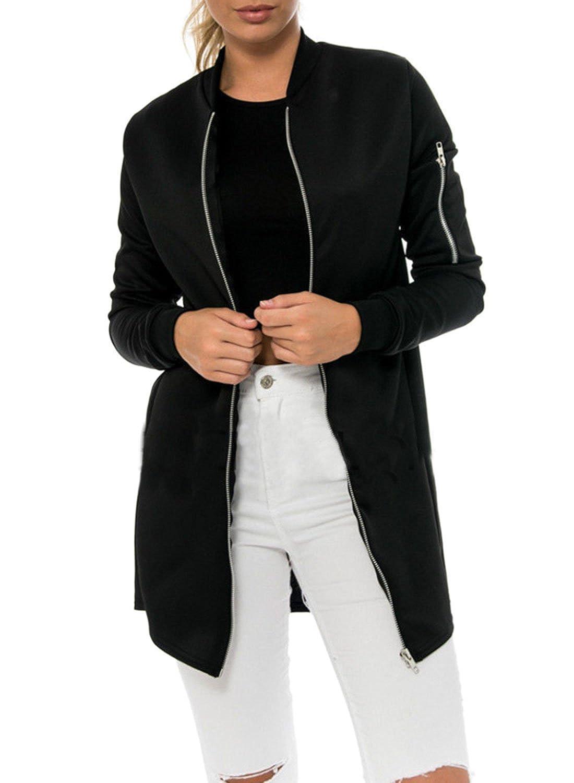 Ezcosplay Women Long Sleeve Solid Color Full Zip Front Jacket Coat Outerwear