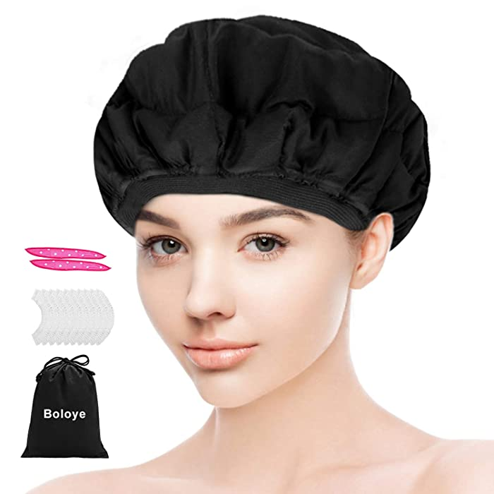 Flaxseed Deep Conditioning Heat Cap - Boloye Cordless 100% Safe Microwave Hot Cap for Natural Curly Textured Hair Care, Drying, Styling, Curling, Universal size (10 PCS One-time shower cap)