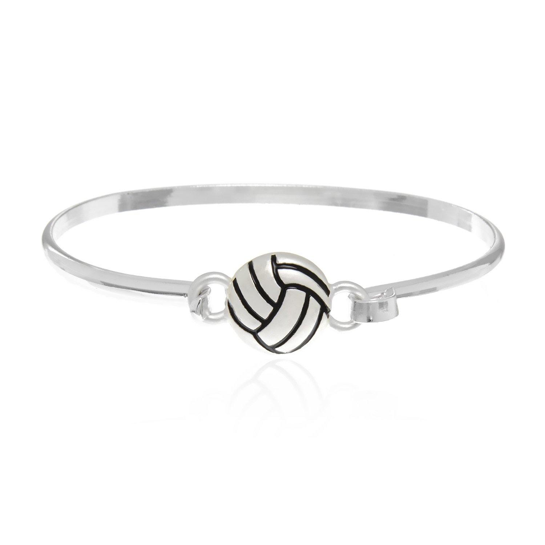 Volleyball Charm Bangle Hook Bracelet PammyJ Silvertone Volleyball Bracelet