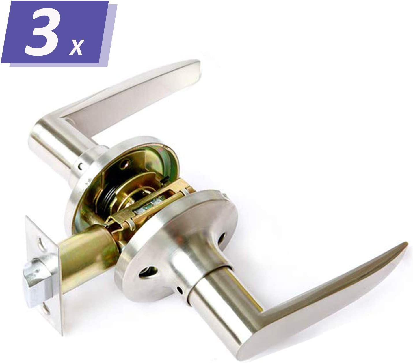 Home/Office Use 3 Pack Passage Door Handles in Brushed Nickel Finish, Reversible for Right/Left Handed Doors, Keyless Unlocking Interior Door Knobs for Hallway/Closets/Laundry Rooms