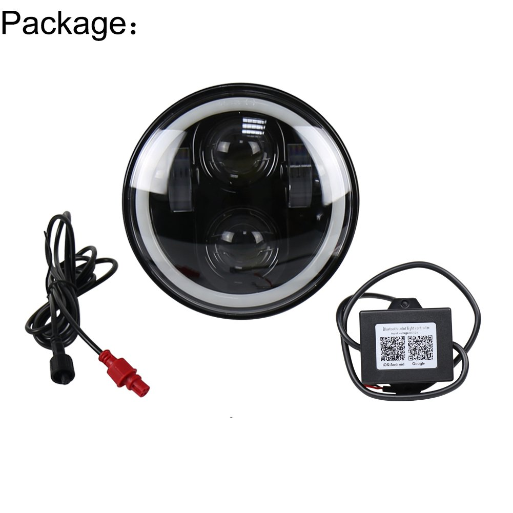 MOVOTOR 5 3//4 Harley Davidson Sportster Headlight 5.75inch led headlight with White DRL RGB Halo Bluetooth Remote Control Music Mode 40W H//L Beam Black