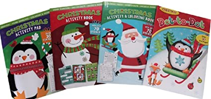 christmas coloring and activity books for kids set of 4 books lots of puzzles