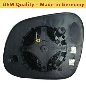 Seat Altea XL Espejo para puerta 2006,2007,2008,2009,2010,2011,2012,2013,2014 climatizada ala, plata/cristal incluido base placa RH (lado conductor): ...