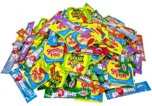 Airheads Bars, Sour Patch Kids, & Swedish Fish Bulk Candy, 200 Count - 6.8 Pound (Mardi Gras Treats)