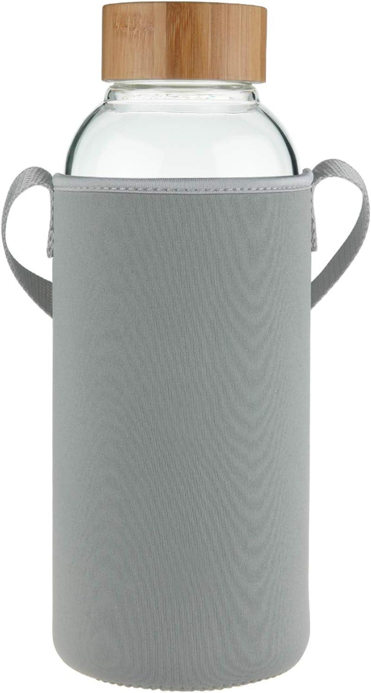 Ferexer Botella de Agua de Cristal con Tapa de bambú Funda de Neopreno 1500 ml, 1,5 L